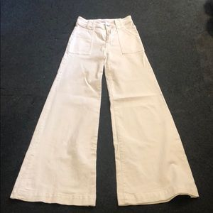 7 For All Mankind White Wide Leg Jeans  - 25 waist